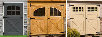 Pine Creek Structures options including single and double carriage house doors with arch top or square transom windows