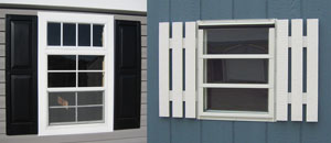 Pine Creek Structures window and shutter options including transom windows and jalousie windows